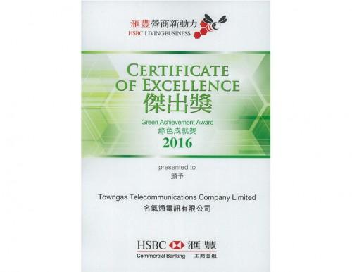 2016年滙豐營商新動力獎勵計劃 - <br /> 綠色成就獎傑出獎